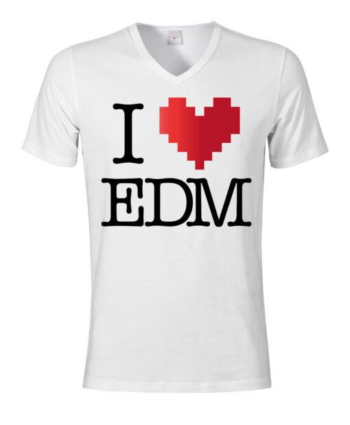 I Love V-Neck V-Neck White Edm Top Electronic Dance Music The Slogan Men T Shirt