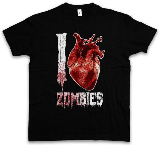 I Love Zombies Halloween Jaws Heart Zombie Splatter Blood Gore Dead T Shirt