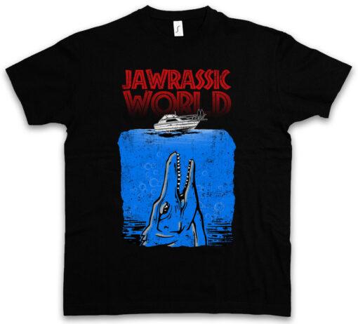 Jawrassic Jurassic Dinosaur World Shark Shark Great White Boat Fun Parc T Shirt