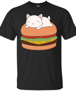 Kawaii Cute Cat On Burger Cotton T-Shirt