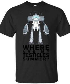 Lawnmower Dog Where are my Testicles Summer Rick and Morty Black Text Version Cotton T-Shirt
