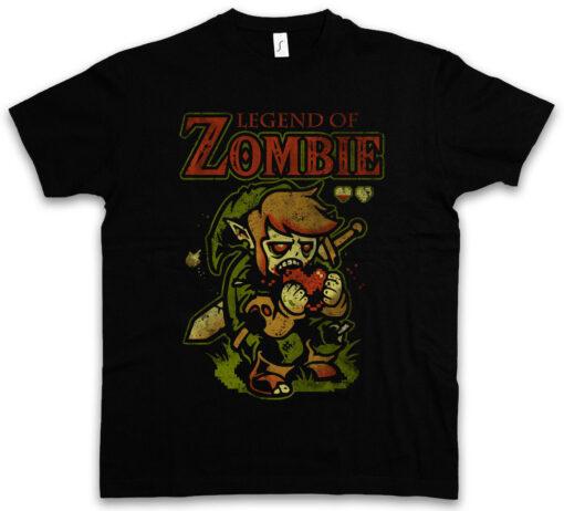 Legend Of Zombie Fun Heart Zombie Eating Brain Dead Game Zelda Sword T Shirt