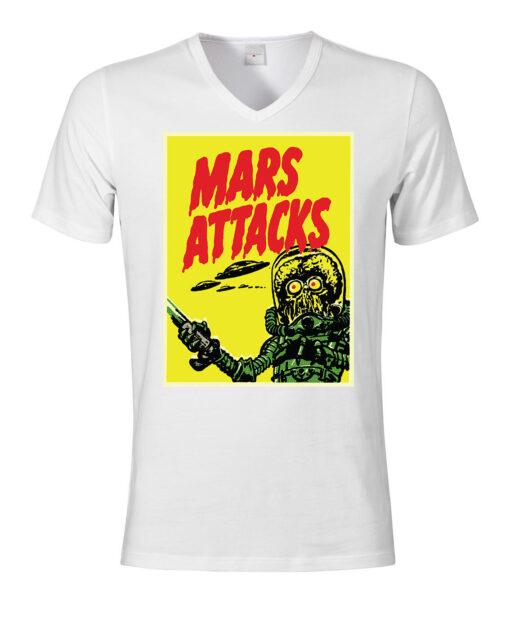 Mars Attacks Funny Film Formed Spacemen Alien Invasion V-Neck Collar V T Shirt