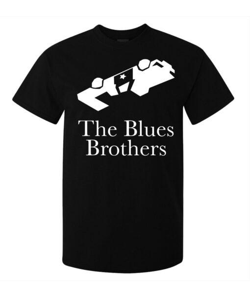 Men Blues Brothers Movie Legendary Black Police Car T Shirt