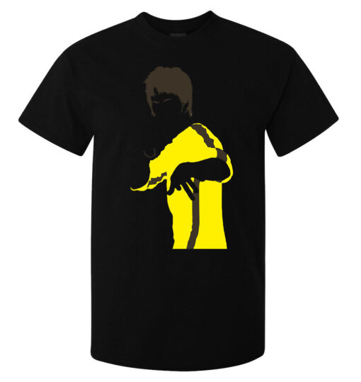 Men Bruce Lee Yellow Minimalist Illustrations (Woman Available) Black T Shirt
