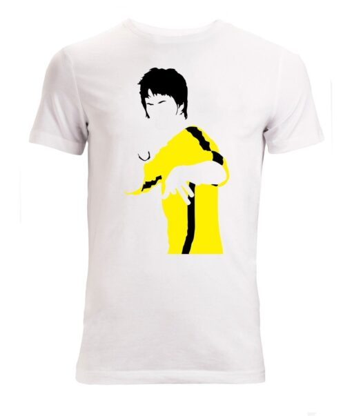 Men Bruce Lee Yellow Minimalist Illustrations (Woman Available) White T Shirt