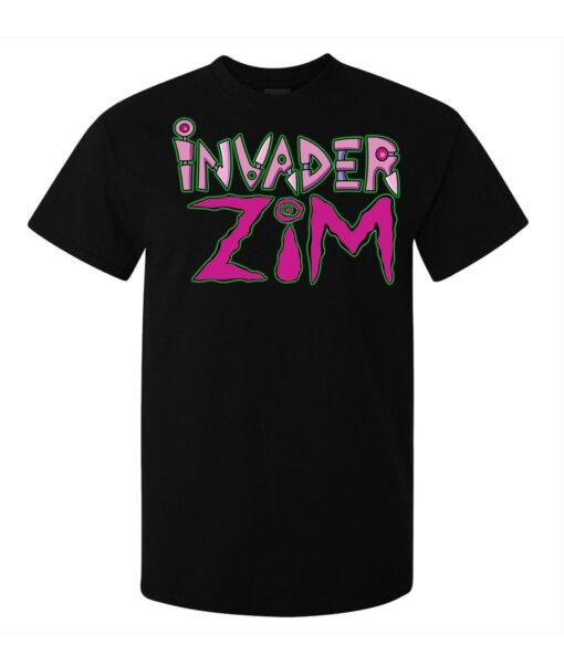 Men Cartoon Illustrations Logo Invader Zim (Woman Available) Black T Shirt
