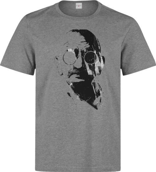 Men Gray Illustrations Mahatma Gandhi (Available Women) Gray T Shirt