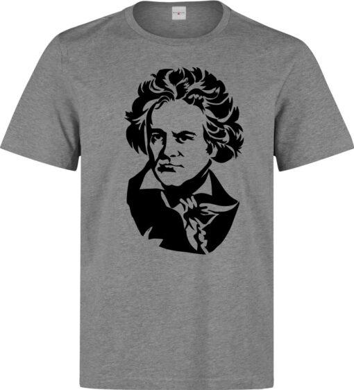 Men Gray Ludwig Van Beethoven Composer Black Artwork T Shirt