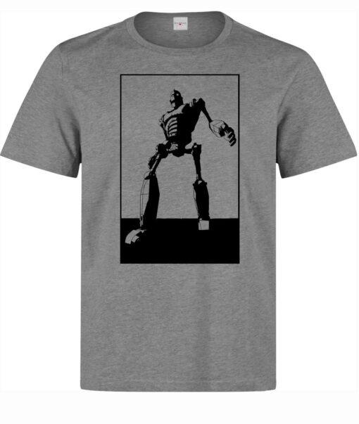 Men Iron Giant Movie Cartoon Illustrations (Woman Available) Gray T Shirt