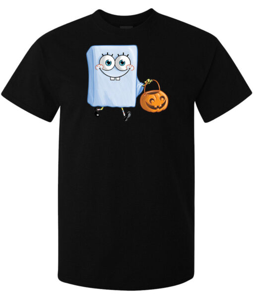 Men Spongebob Halloween Scary Ghost (Woman Available) Black T Shirt