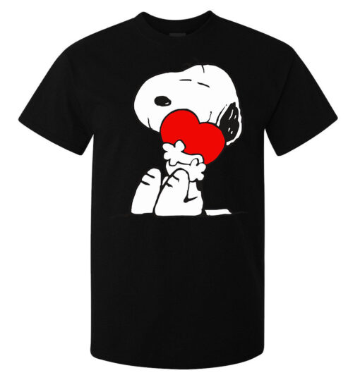 Men Valentine'S Day Red Heart Snoopy (Woman Available) Black T Shirt