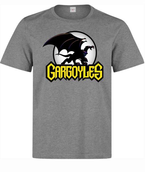 Men'S Logo Classic Cartoon Illustrations Gargoyles (Women Available) Gray T Shirt