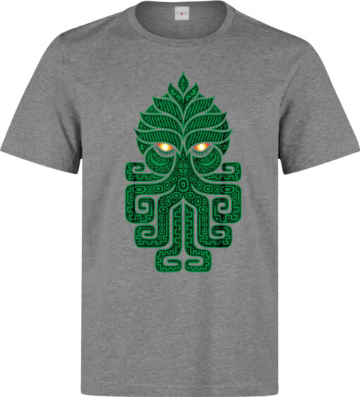 Men'S Style Of Ancient Aztec Art God Cthulhu Green (Woman Available) Gray T Shirt