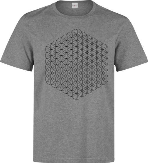 Merkaba Star Tetrahedron Flower Gray Artwork Life Men T Shirt
