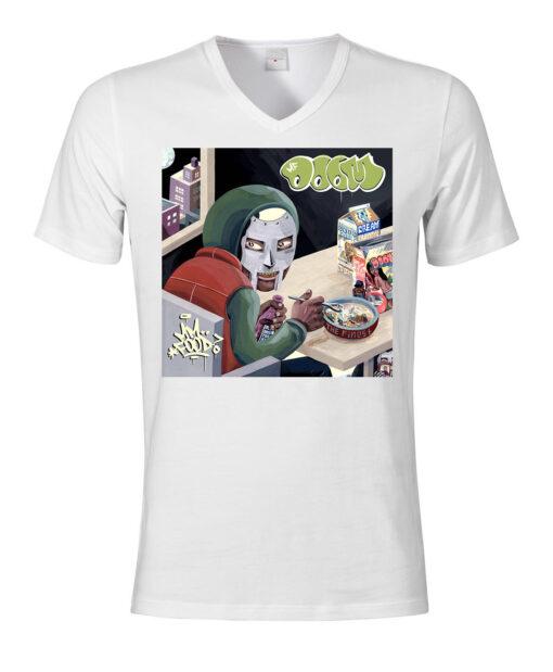 Mf Doom Eating Cereal Rap Hip Hop V-Neck Top White Men Of Mf Food T Shirt