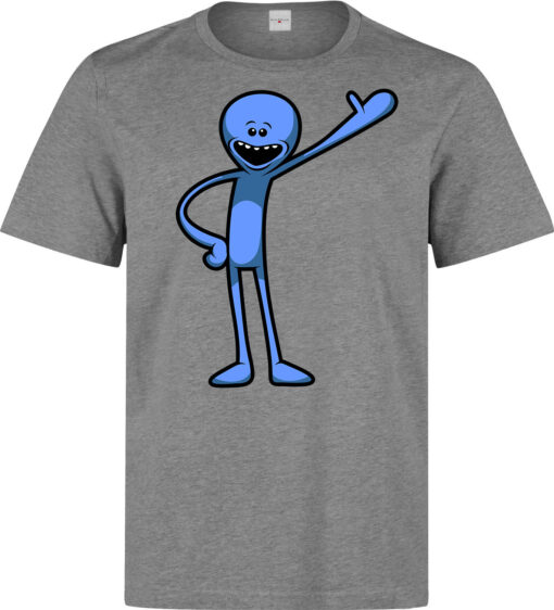 Mr. Rick And Morty Meeseeks Funny Cartoon Illustrations Men Clothing Gray Top T Shirt