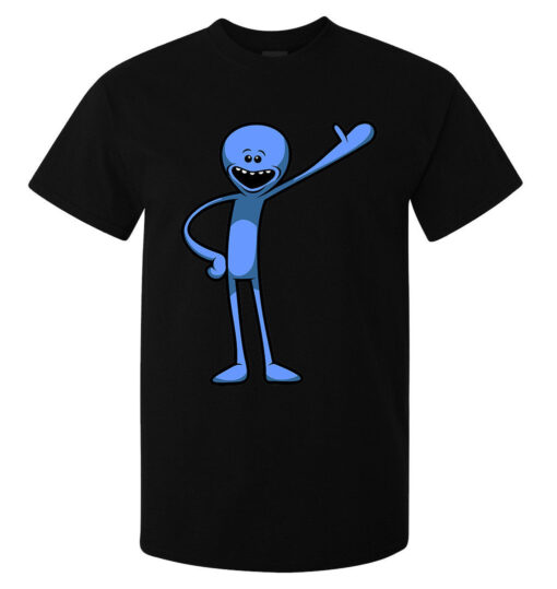 Mr. Rick And Morty Meeseeks Funny Cartoon Illustrations Of Men With Style Top Black T Shirt