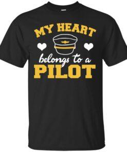 My Heart Belongs to a Pilot Cotton T-Shirt