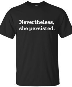 Nevertheless She Persisted White on Black Cotton T-Shirt