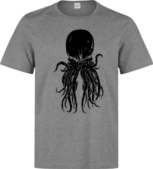 Old God Cthulhu Black Gray Illustrations Death Evil Men T Shirt