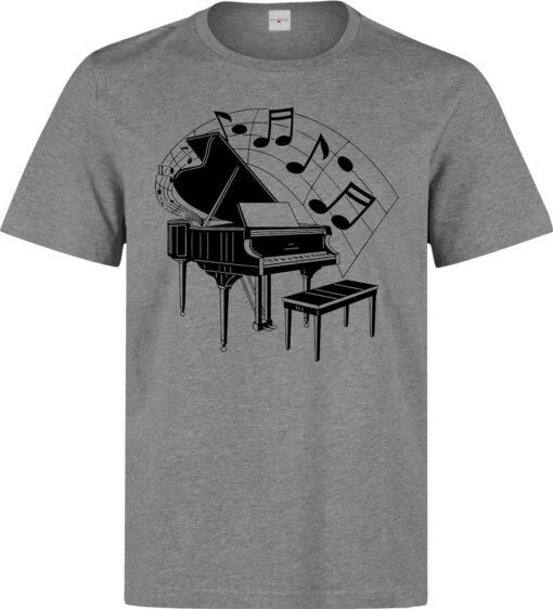 Piano Music And Elegant Black Men Art Illustrations (Woman Available) Gray T Shirt