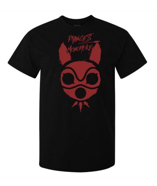 Princess Mononoke Graphic Red Mask Men (Women Available) Black T Shirt