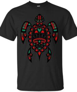 Red and Black Haida Spirit Sea Turtle Cotton T-Shirt