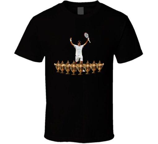 Roger Federer Wimbledon Trophies Goat 8 Tennis Legend Story T Shirt