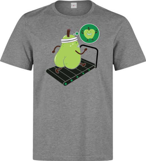 Running Pear Has A Dream To Get Fit Gray Top Men'S Sport Gym T Shirt