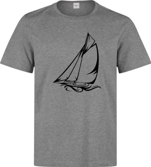 Sailboat Navigates The Work Male Sea (Woman Available) Gray T Shirt