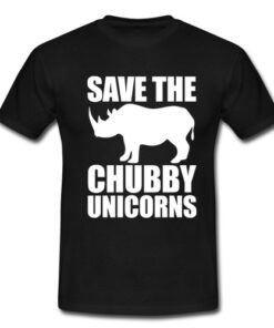 Save The Unicorns Stocky Men Funny T-Horned Rhino T Shirt