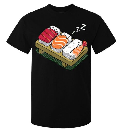 Sleeping Anime Cartoon Sushi Japanese Food Superior Drug Work Top Black Men T Shirt