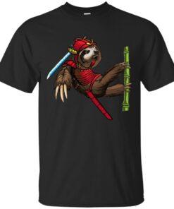 Sloth Samurai Graphic Art Cotton T-Shirt