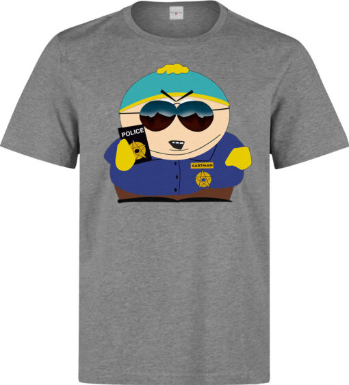 South Park Cartman Man Holding Police Badge Funny Men On The Gray Theme T Shirt