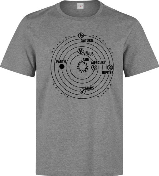 Space Astrology Solar System Map Symbols Male (Female Available) Gray T Shirt