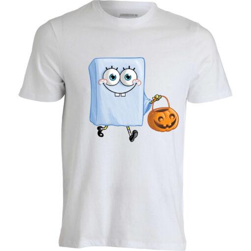 Sponge Bob Cartoon Ghost Scary Halloween Funny Men'S White Top T Shirt