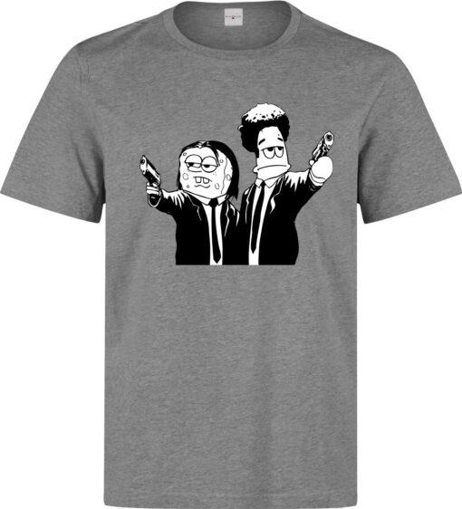 Sponge Bob Mashup Pulp Fiction Male (Female Available) Gray T Shirt