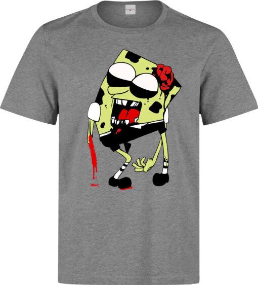 Sponge Bob Zombie Dead Men Walking (Women Available) Gray T Shirt