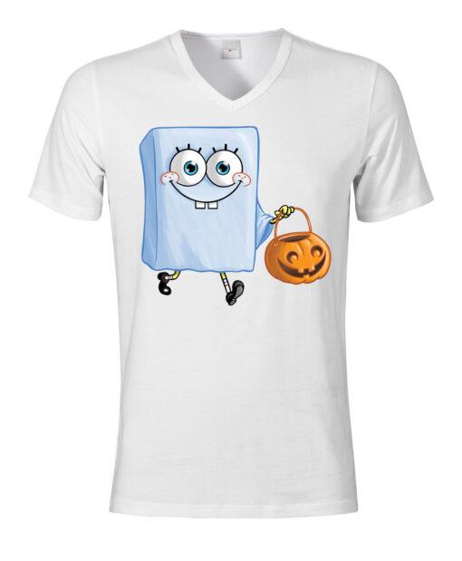 Spongebob Halloween Scary Ghosts' Men V-Neck Top V-Neck White T Shirt