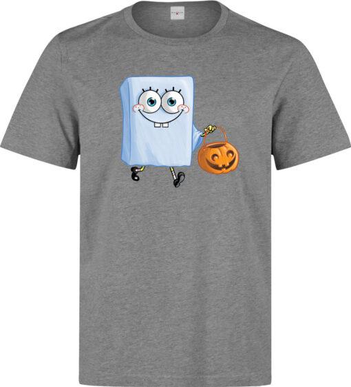 Spongebob Men Fear Ghost Gray Halloween T Shirt