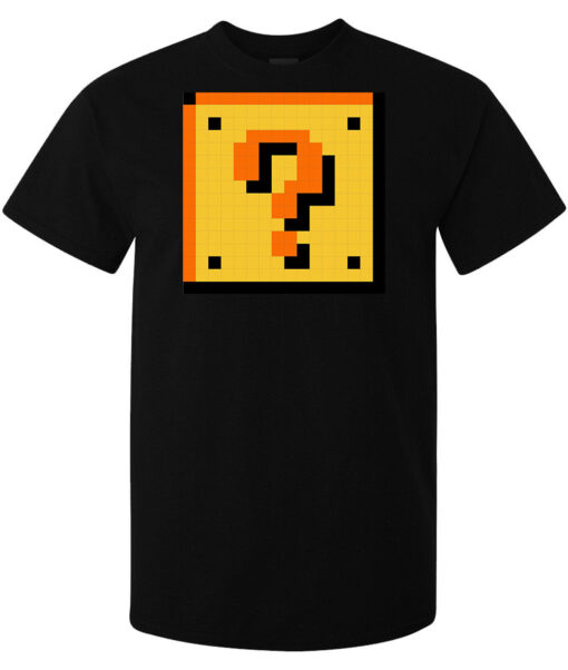Super Mario Brothers Block Interrogation Mark Men (Women Available) Black T Shirt