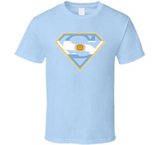 Team Argentina Soccer Fan Country Superhero T Shirt
