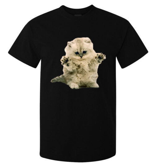 Top Black Confused And Fluffy Cute Kitten Art Men (Available For Women) T Shirt