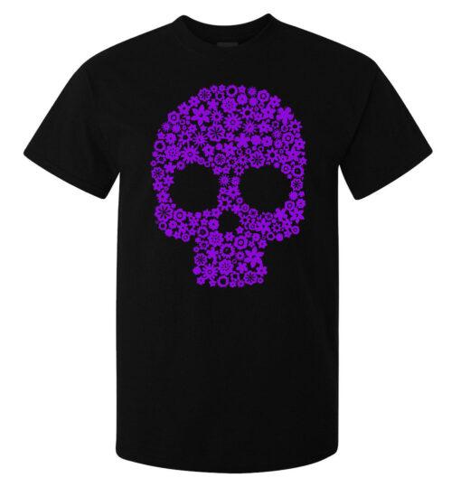 Top Quality Black Men Skull Art Purple Flowers (Available For Women) T Shirt