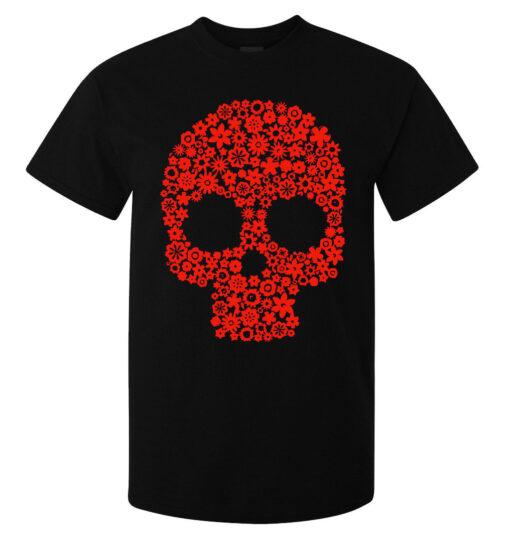 Top Quality Black Men'S Skull Art Of Red Flowers (Available For Women) T Shirt