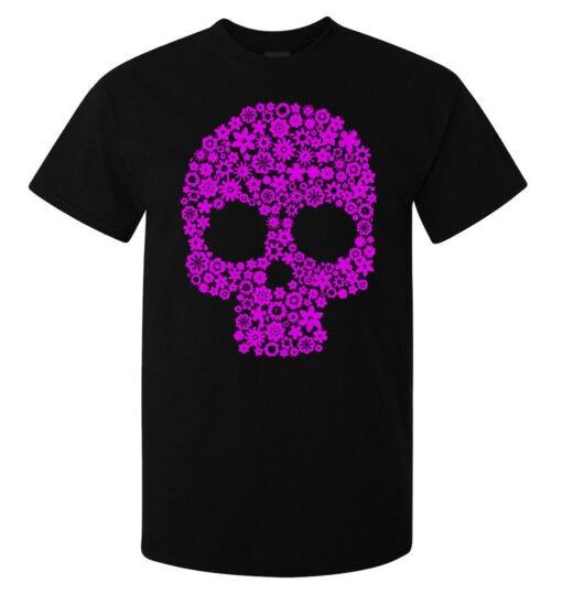 Top Quality Black Men'S Skull Rose Art Flourished (Available For Women) T Shirt