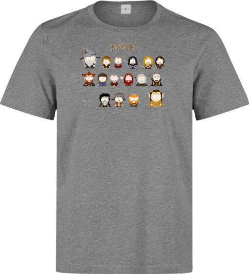 Top Quality Gray Men South Park Characters Gandalf Bilbo Hobbit Gollum T Shirt