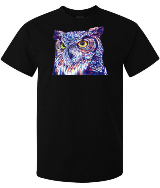 Trippy Purple And Blue Owl Illustrations Majestic Men (Women Available) Black T Shirt