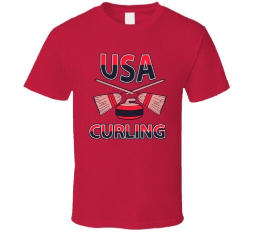 Usa Proud Team Olympic Winter Curling T T Shirt